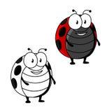 Mariquita de la historieta o insecto manchada rojo de la mariquita Imagen de archivo libre de regalías