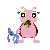 Mariquita del bebé de la historieta con helado ilustración del vector