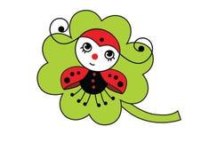 Mariquita en un trébol verde de la hoja - el día del insecto de Patrick Foto de archivo