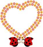 Mariquitas de los pares con el marco del corazón de la flor Fotos de archivo libres de regalías