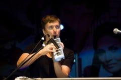 Maris Mihelsons,拉脱维亚摇滚小组突发的灵感的音乐家,键盘文尼察市天,乌克兰, 07 09 2013年,社论照片 库存图片