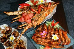 Marisco & lagosta grelhados Fotografia de Stock Royalty Free