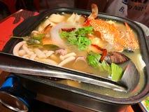 Marisco branco Tom Yum Thailand Cuisine fotografia de stock