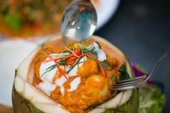 Marisco cocido al vapor tailandés del curry en coco Fotos de archivo