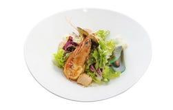 Marisco cozinhado com alface Imagens de Stock Royalty Free