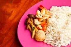 Marisco del curry con arroz Imagen de archivo libre de regalías