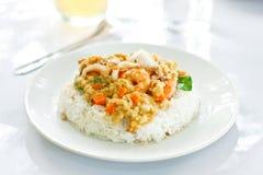 Marisco do incêndio e arroz cozinhado Fotografia de Stock