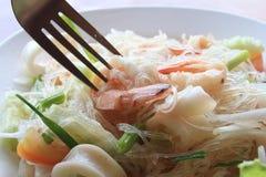Marisco e salada da aletria Fotografia de Stock