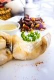 Marisco e vegetais grelhados Fotografia de Stock Royalty Free