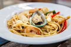 Marisco picante dos espaguetes Foto de Stock Royalty Free