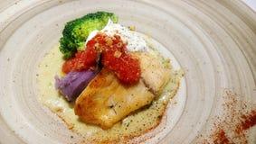 Marisco servido com vegetais foto de stock