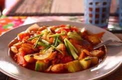 Marisco tailandés en salsa de curry fría candente de la pimienta Foto de archivo libre de regalías