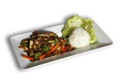 Marisco tailandês do estilo com vegetais e arroz Imagens de Stock