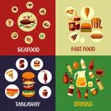 Mariscos, alimentos de preparación rápida e iconos planos de las bebidas Foto de archivo
