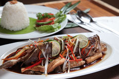 Mariscos asiáticos de los pescados del Groper con arroz Fotos de archivo libres de regalías
