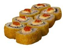 Mariscos calientes del menú de la comida de los rollos del sushi Imagenes de archivo