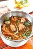 Mariscos calientes y picantes de la sopa Fotografía de archivo