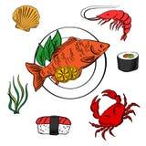 Mariscos con los pescados, el sushi, el cangrejo y el camarón Imagen de archivo