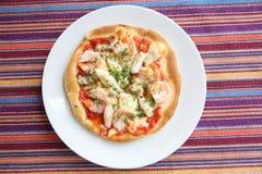 Mariscos de la pizza Foto de archivo libre de regalías