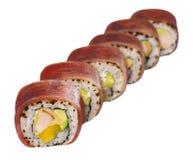 Mariscos del menú de la comida de los rollos de sushi Fotografía de archivo