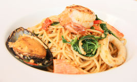 Mariscos dos espaguetes imagens de stock