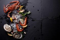 Mariscos frescos, ostra del camarón del cangrejo en el fondo de piedra Fotos de archivo libres de regalías