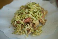 Mariscos fritos con el calabacín frito imagenes de archivo