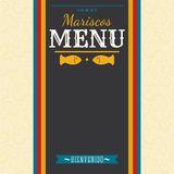 Mariscos Menu - Seafood Menu spanish text Stock Photography
