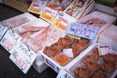 Mariscos, mercado de la mañana de Hakkodate Imagen de archivo