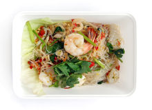 Mariscos tailandeses para llevar del alimento Fotografía de archivo