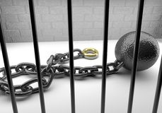 Marital ball and chain Royalty Free Stock Image