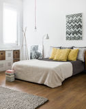 Marital bed in snug bedroom. Picture of marital bed in snug bedroom Royalty Free Stock Photography