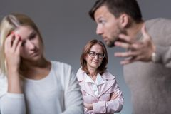 Marital dispute and mean mother Stock Images