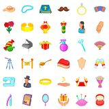 Marital life icons set, cartoon style. Marital life icons set. Cartoon set of 36 marital life vector icons for web isolated on white background Royalty Free Stock Photo