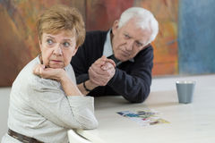 Marital problems in old age. Senior couple having marital problems in old age Stock Image