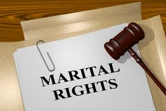 Marital Rights concept. 3D illustration of MARITAL RIGHTS title on legal document Stock Photo