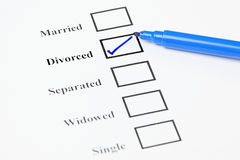 Marital Status Check List. Divorced. Tick-boxes showing marital status on a blank form. Divorced ticked Royalty Free Stock Photos