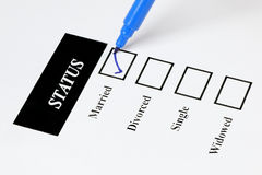 Marital Status - Married. Form showing marital status with check - boxes and pen Royalty Free Stock Photo