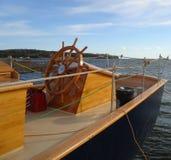 Maritiem varend schip Katie Belle shipwheel Royalty-vrije Stock Foto