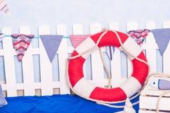 Maritieme décordocument boten, shells Royalty-vrije Stock Foto