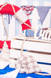 Maritieme décordocument boten, shells Royalty-vrije Stock Foto's
