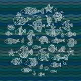 Maritieme, vectorreeks, vissen in de golven vector illustratie