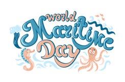 Maritim dag för värld - hand-skriftlig text, ord, typografi, kalligrafi, hand-bokstäver Vektorhand-handstil i en färg stock illustrationer