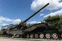 maritim järnväg artilleriinstallation TM-3-12 för 305-mm i museet av militär utrustning på den Poklonnaya kullen i Moskva royaltyfria foton