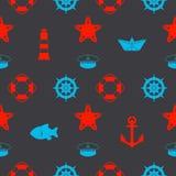 Maritim sömlös modell med röda och blåa nautiska symboler som pappers- skepp, sjömanhatten, ankaren och sjöstjärna på mörk svart  royaltyfri illustrationer