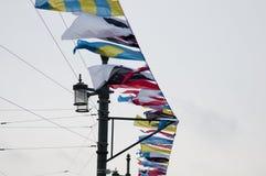 Maritima signalflaggor royaltyfri foto