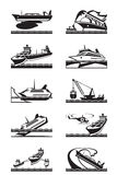 Maritime accidents with industrial ships. Maritime accidents with merchant and cruise ships - vector illustration Royalty Free Stock Image