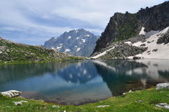 Maritime Alps, Italy. Mountain lake and argentera peak. Royalty Free Stock Image