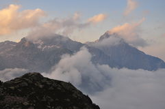 Maritime Alps landscape by sunset, Italy Stock Image