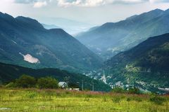 Maritime Alps, Limone Piemonte in summer. View of the valley from the top of the mountain. Maritime Alps, Limone Piemonte ski resort in summer. View of the royalty free stock images